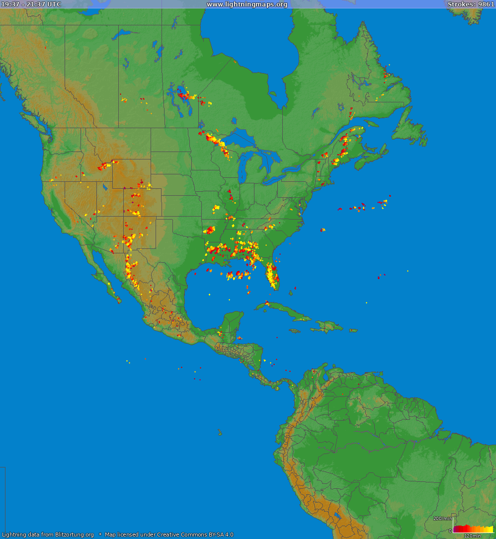 Lightning map North America 2018-10-22 08:39:10 UTC