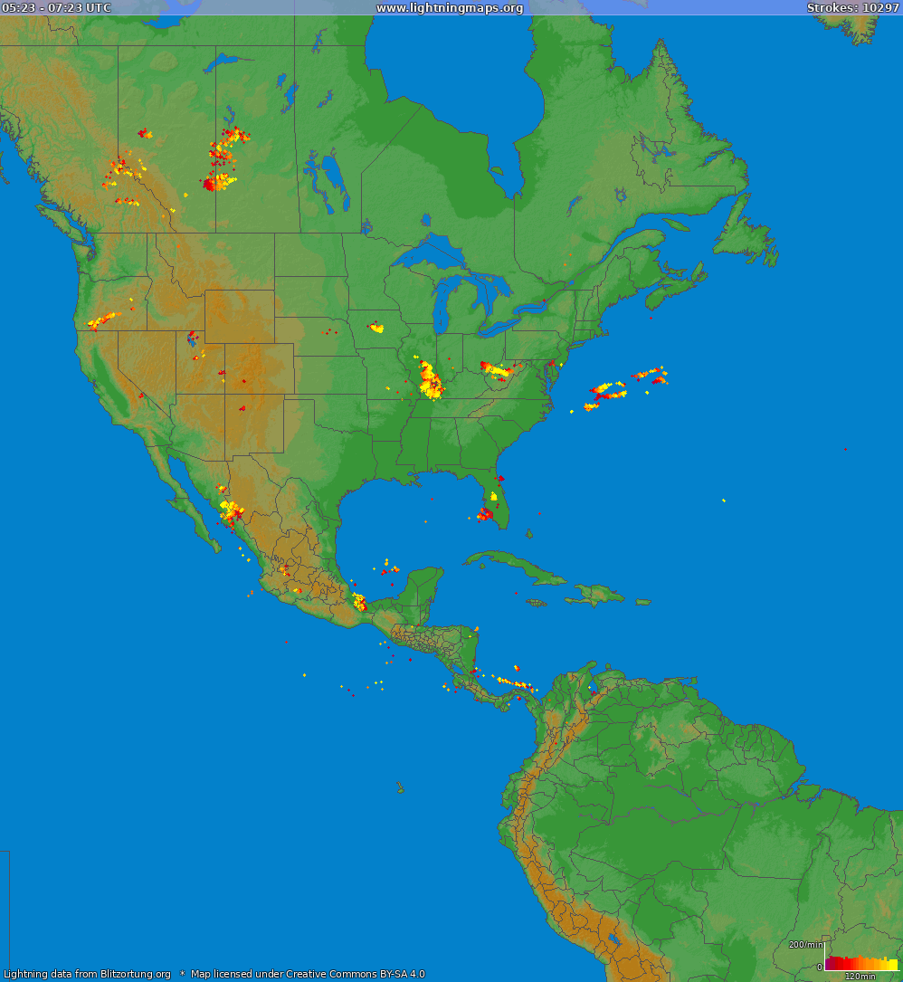 Lightning map North America 2020.08.05 22:36:14 UTC