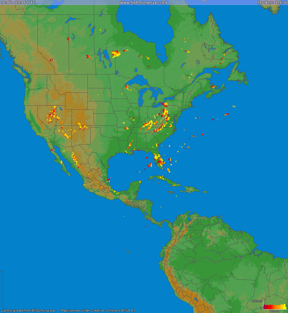 Lightning map North America 2019-03-25 06:37:11 UTC