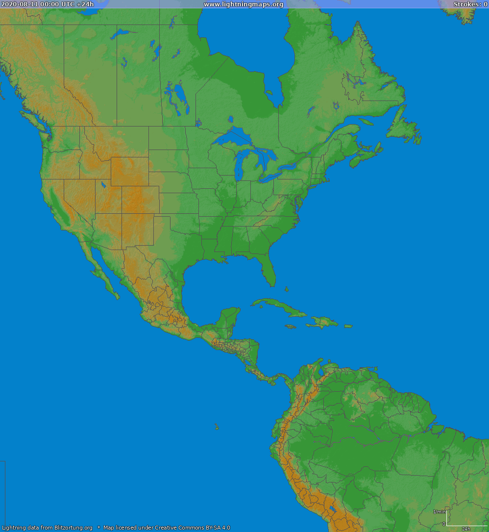 Lightning map North America 2020-08-11
