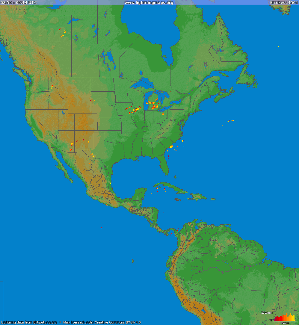 Lightning map North America 2019-10-19 22:57:19 UTC