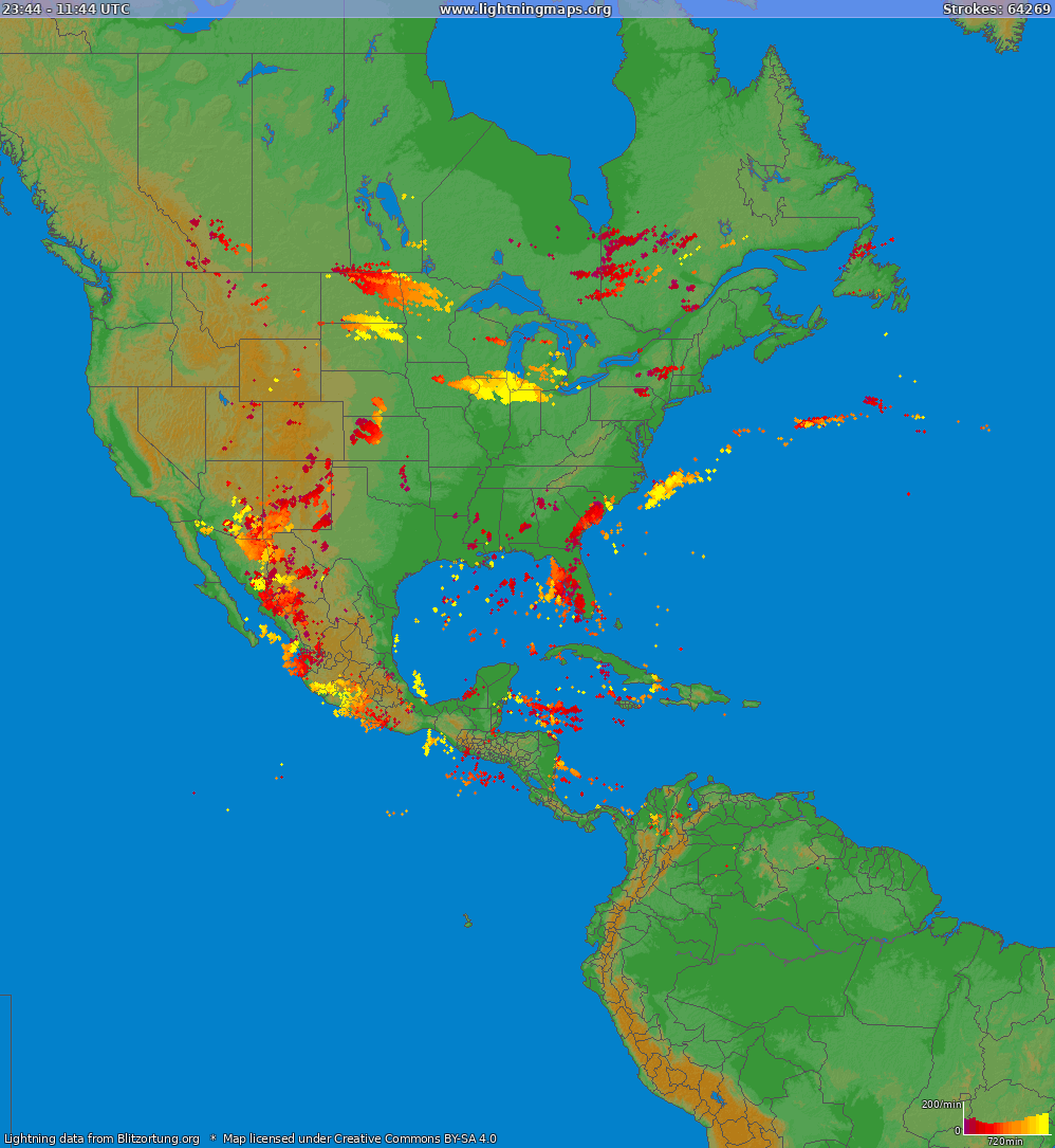 Lightning map North America 2018-09-22 23:25:12 UTC