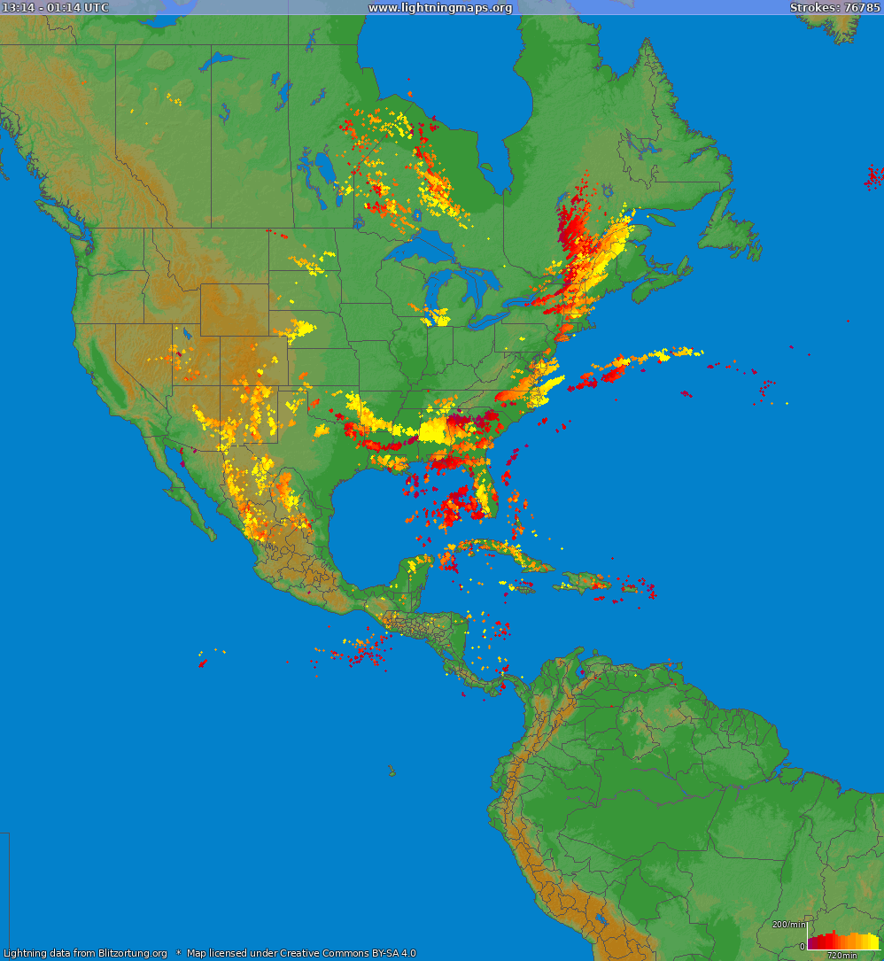 Lightning map North America 2018-10-23 17:07:12 UTC