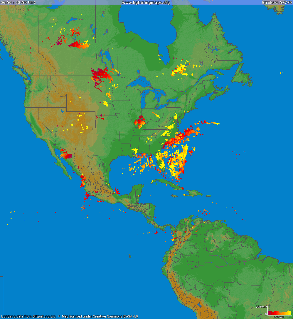 Lightning map North America 2021-03-05 20:34:34 UTC