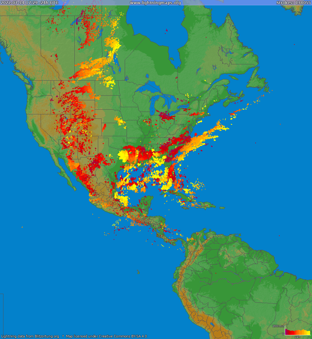 Lightning map North America 2018-11-16 19:00:34 UTC