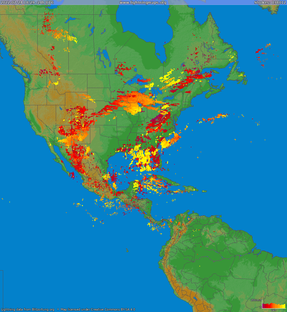 Lightning map North America 2021-04-23 17:55:16 UTC