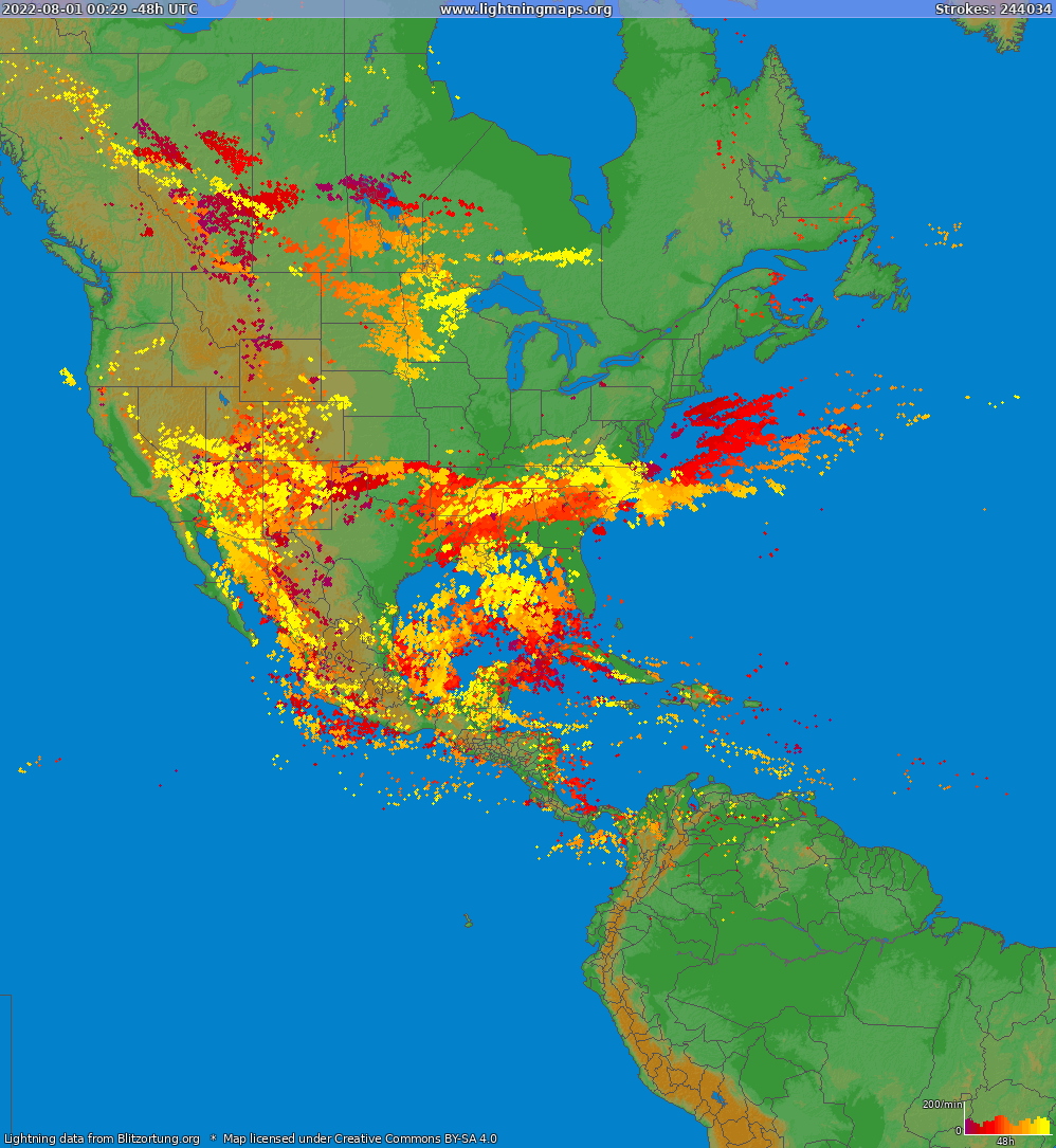 Lightning map North America 2016-08-28 14:02:39 UTC
