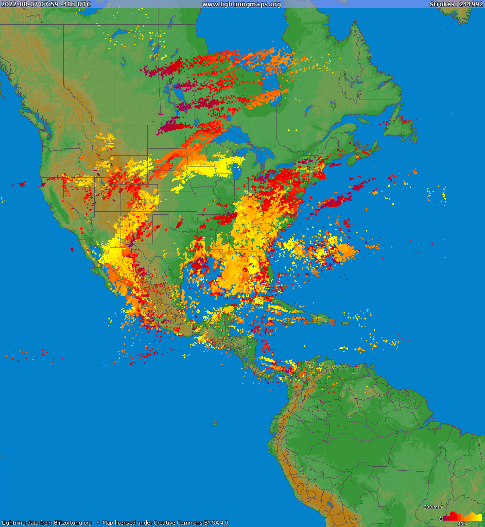 Lightning map North America 2019.03.23 13:29:01 UTC
