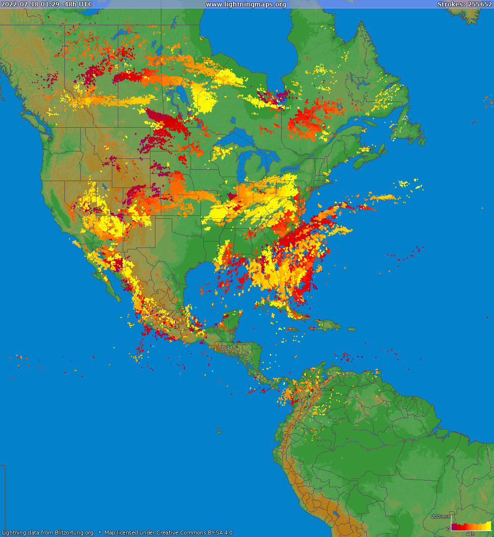 Lightning map North America 2019-05-22 14:02:10 UTC