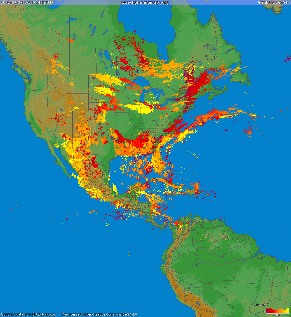 Lightning map North America 2018-03-19 06:20:02 UTC