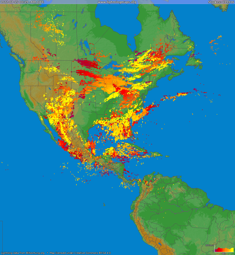 Lightning map North America 2015-01-26 03:04:56 UTC