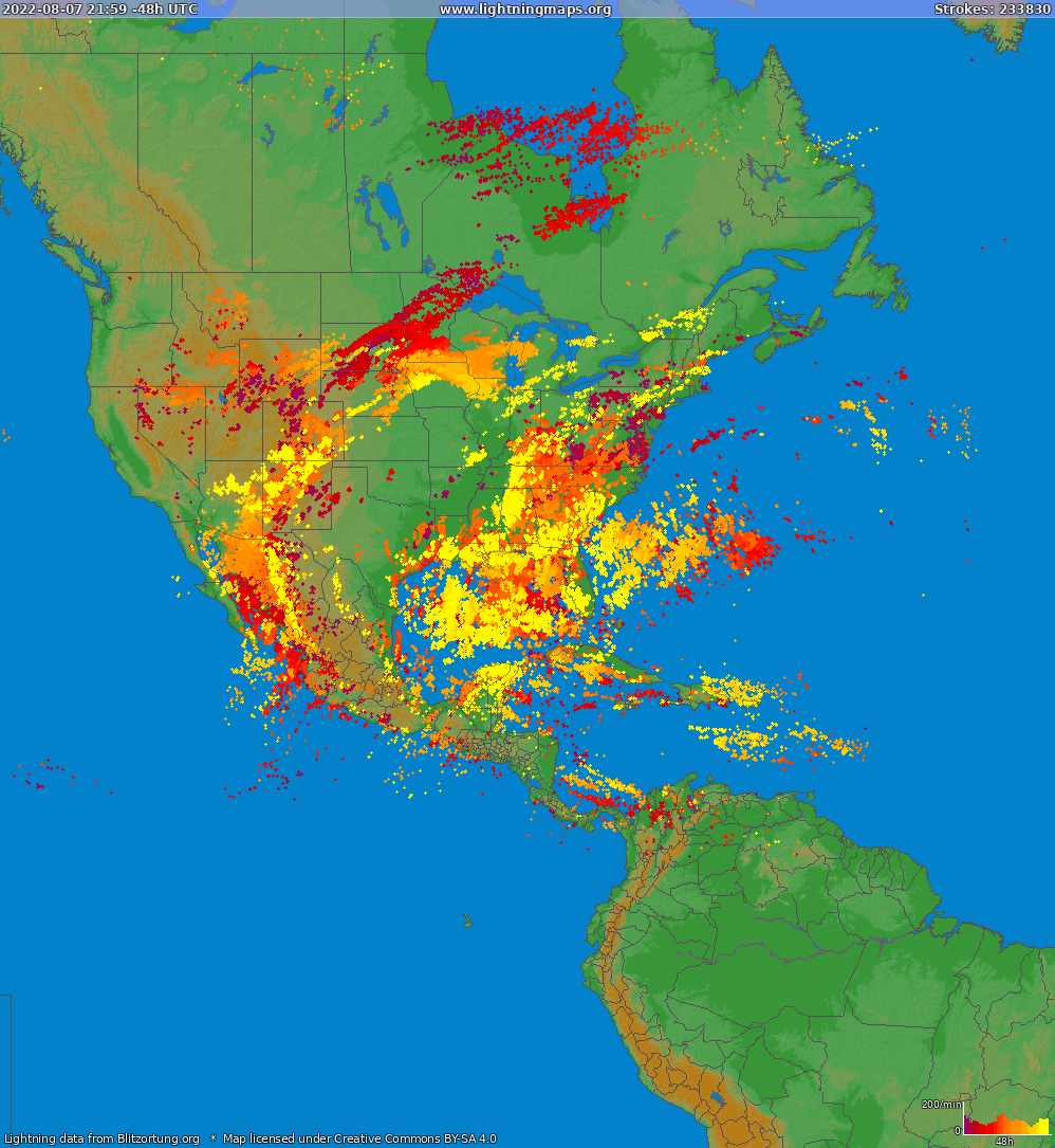 Lightning map North America 2018.08.14 13:28:01 UTC