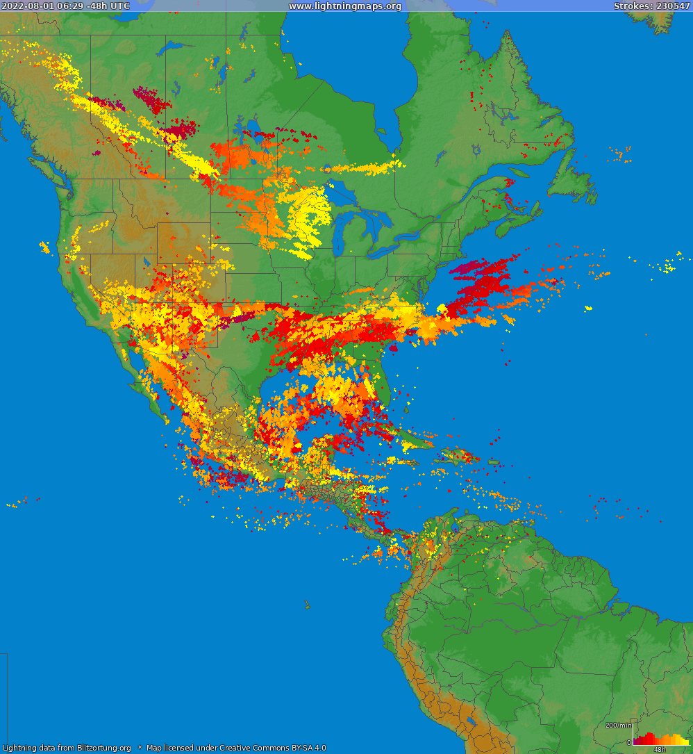 Lightning map North America 2014-08-01 09:48:07 UTC