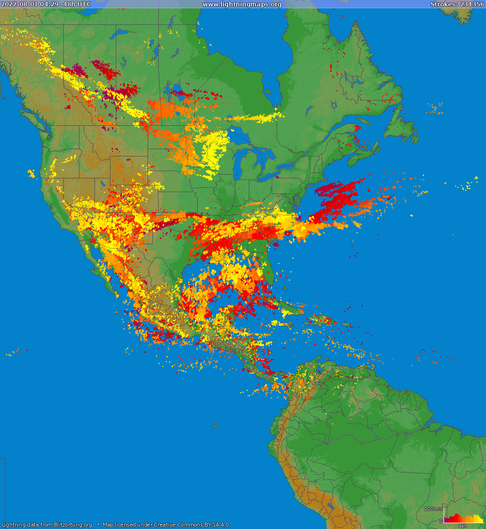 Lightning map North America 2019-03-24 03:36:45 UTC