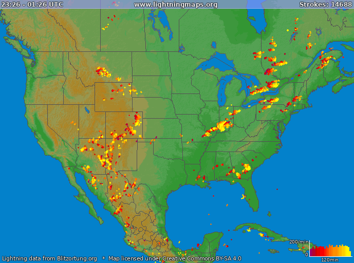 Lightning map USA 2020.06.03 21:49:23 UTC