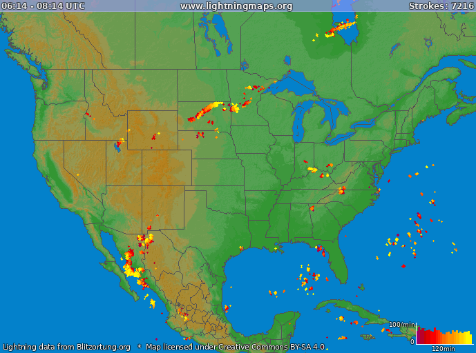 Lightning map USA 2019.02.16 00:10:06 UTC
