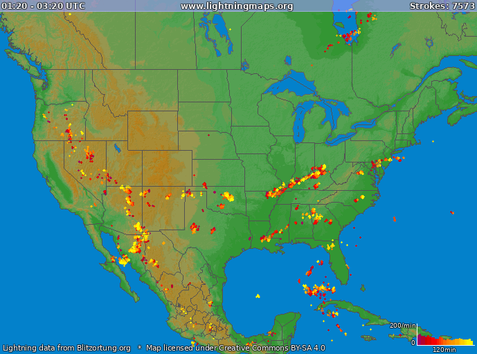 Lightning map USA 2019-11-21 17:43:56 UTC