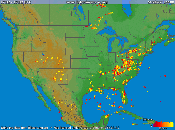 Lightning map USA 2018-08-20 12:56:24 UTC