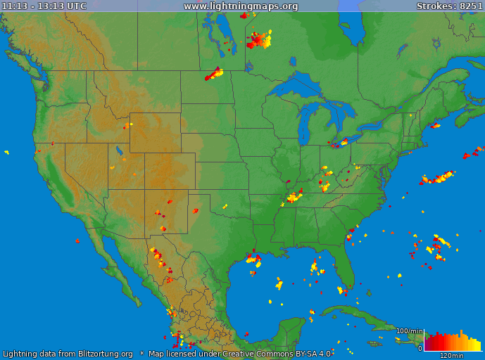 Carte de la foudre USA 25/02/2021 16:40:56 UTC