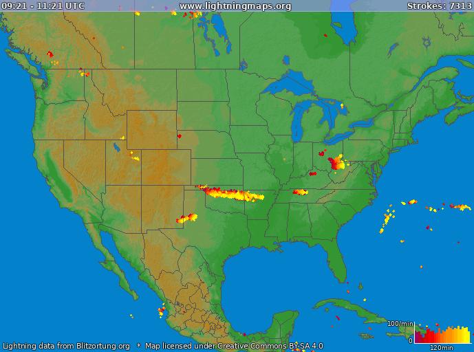 Carte de la foudre USA 09/04/2015 01:52:11 UTC