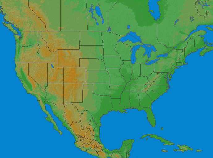 Lightning map USA 2019-02-17 (Animation)