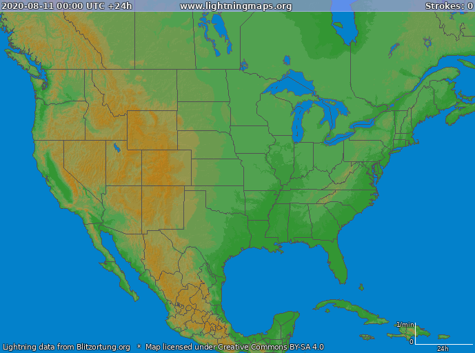 Lightning map USA 2020-08-11
