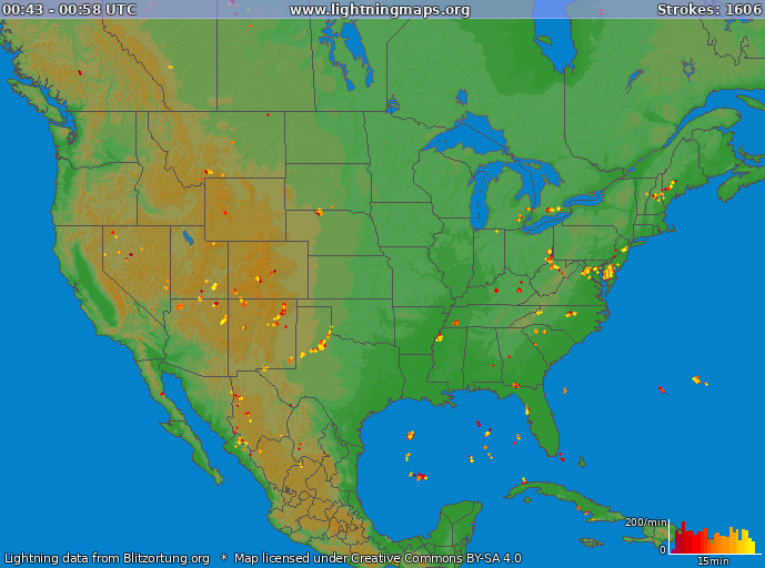 Lightning map USA 2018-01-19 05:45:37 UTC