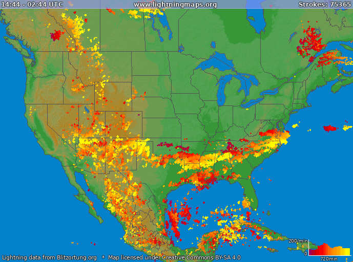 Lightning map USA 2017-10-18 09:04:02 UTC
