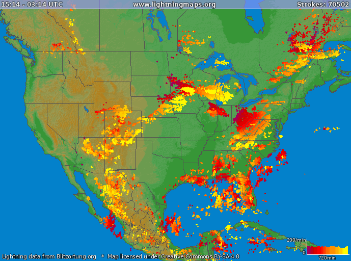 Lightning map USA 2020-07-08 23:13:22 UTC