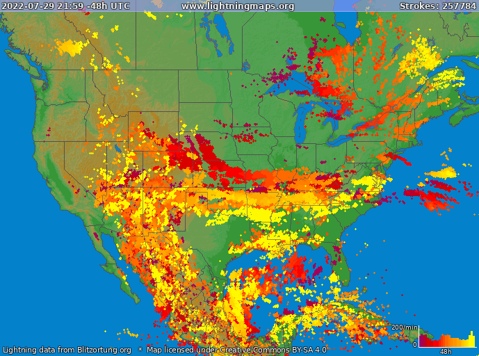 Lightning map USA 2019-03-25 02:27:12 UTC