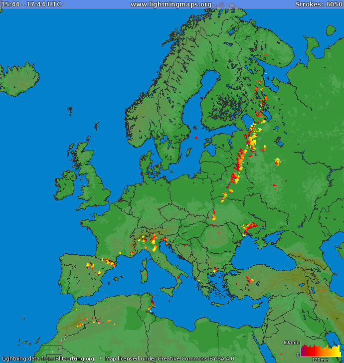 Lightning map Europe 2020.10.30 08:54:32 UTC