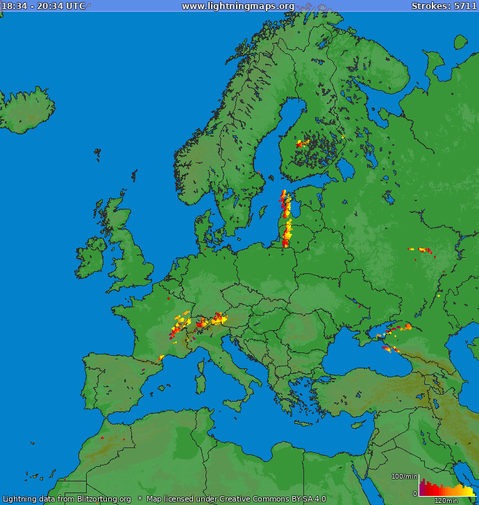 Lightning map Europe 2019.01.23 04:23:16 UTC