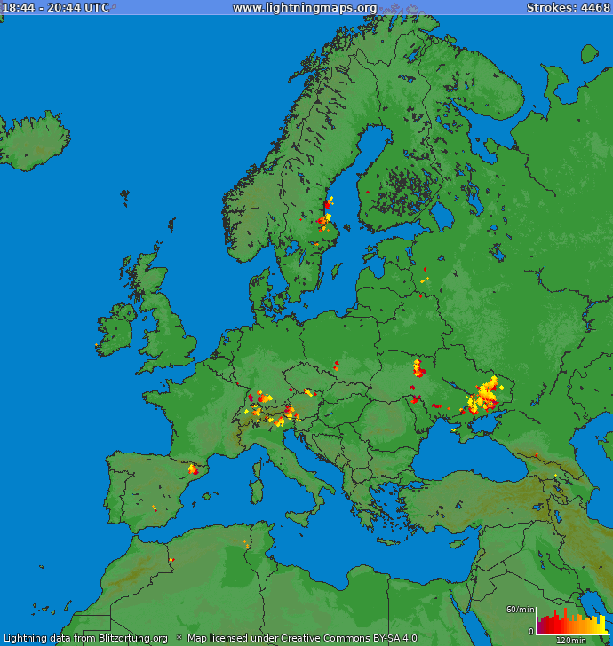 Lightning map Europe 2019.03.24 16:10:02 UTC