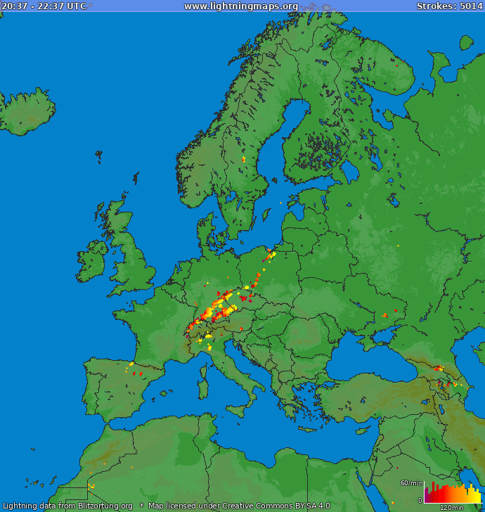 Lightning map Europe 2019.03.23 01:27:26 UTC