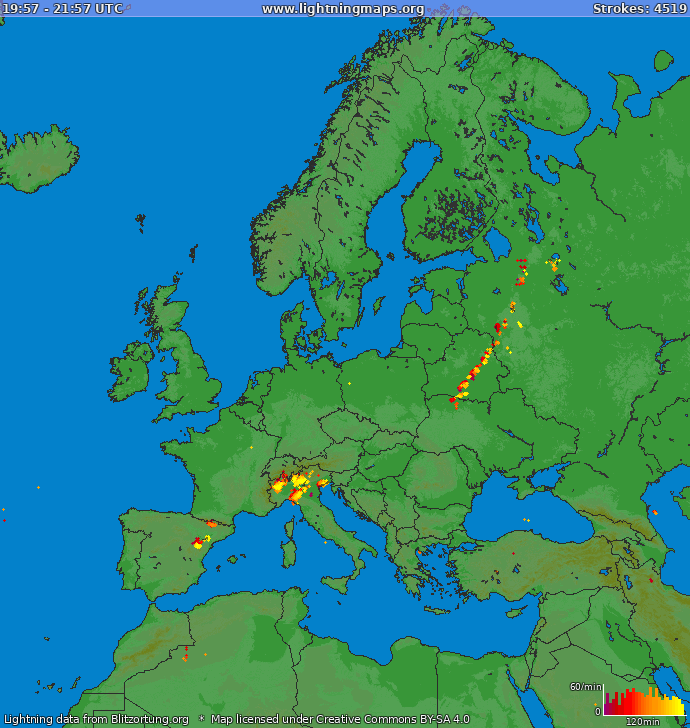 Lightning map Europe 2019-03-22 17:17:08 UTC