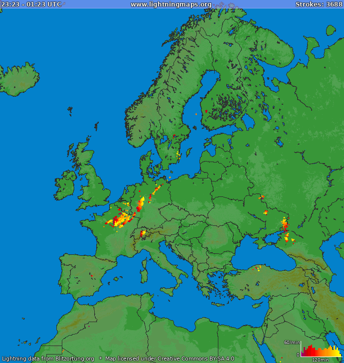 Lightning map Europe 2019-03-26 19:10:09 UTC