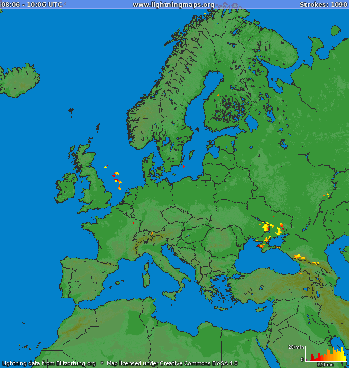 Lightning map Europe 2020.08.05 05:05:23 UTC