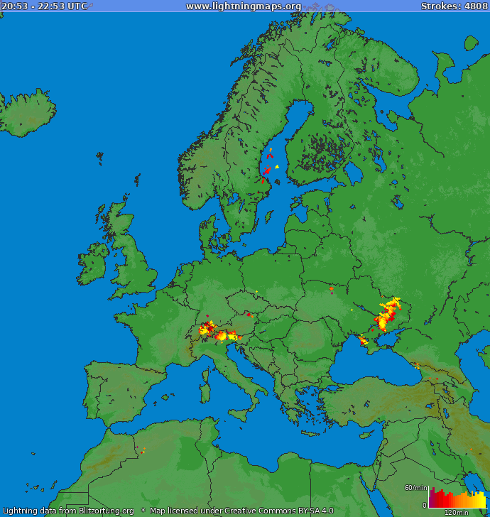 Lightning map Europe 2019-06-20 23:36:17 UTC