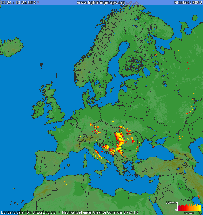 Lightning map Europe 2019-06-19 11:54:11 UTC