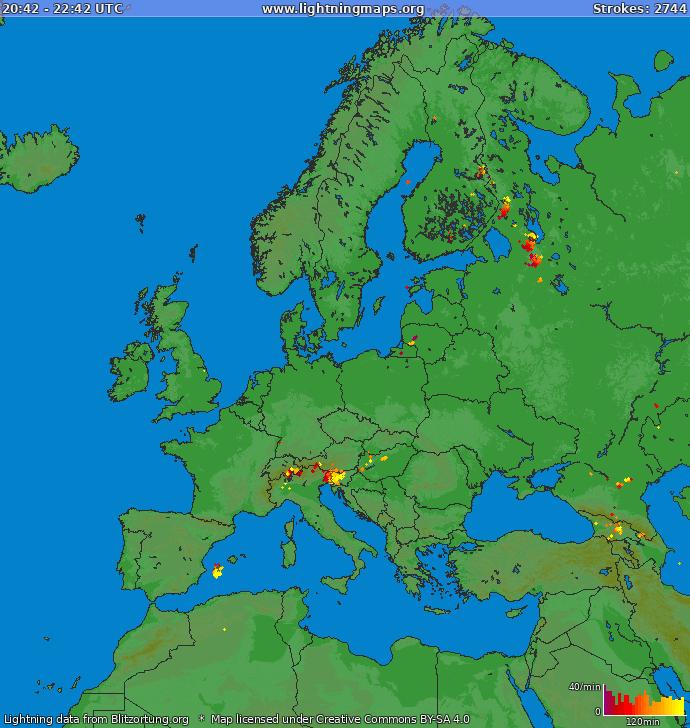 Mappa dei fulmini Europa 14.09.2014 18:46:59 UTC