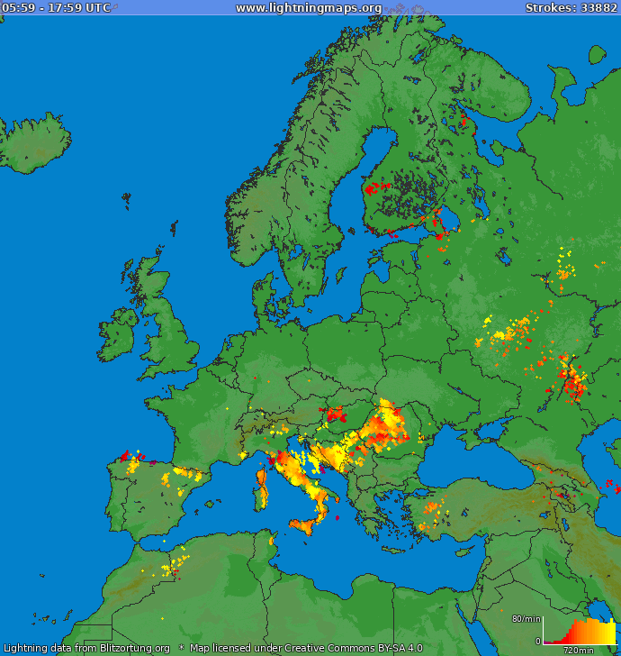 Lightning map Europe 2020.09.24 02:05:55 UTC