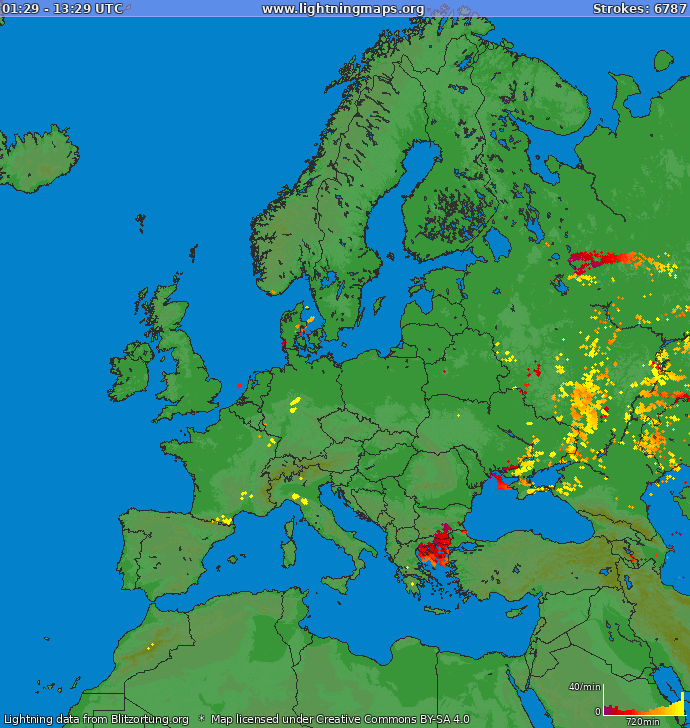 Lightning map Europe 2018-05-26 21:28:03 UTC