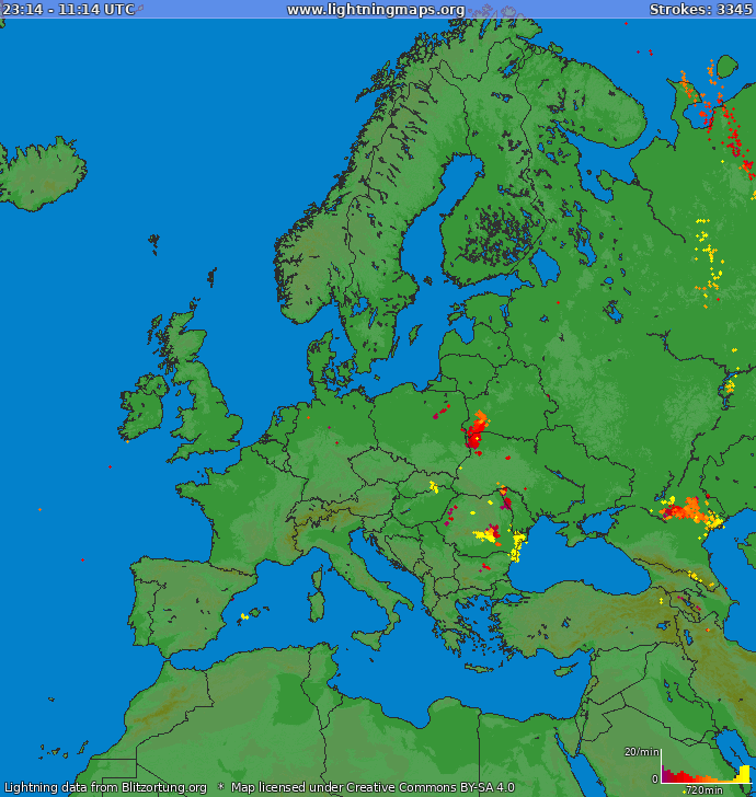 Lightning map Europe 2018-03-22 17:54:04 UTC