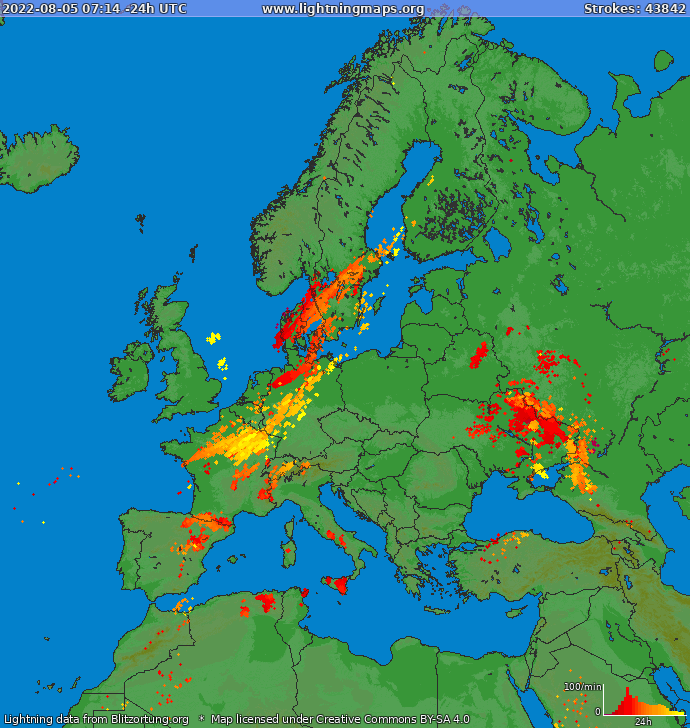 Lightning map Europe 2018-02-21 07:27:41 UTC