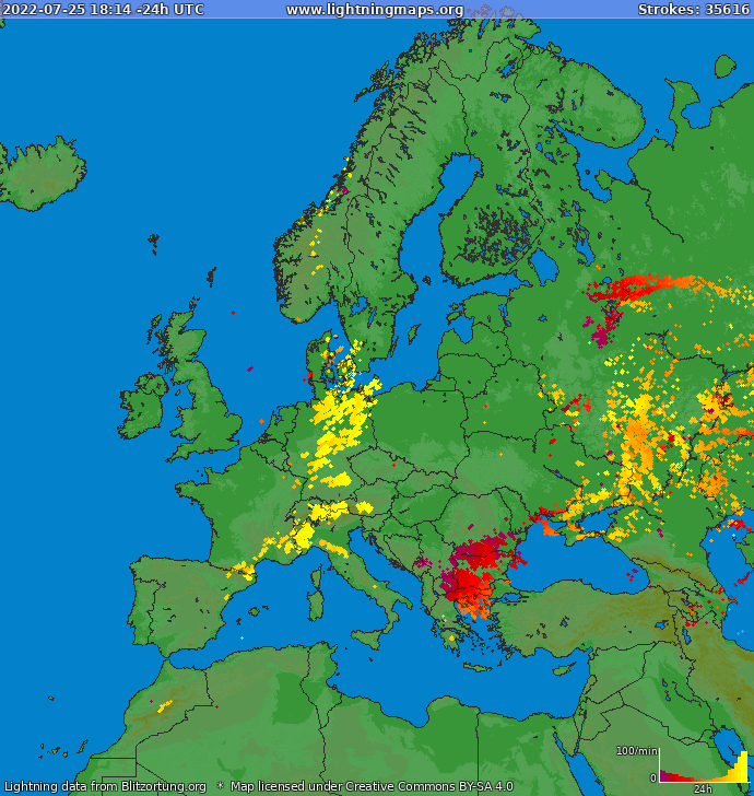 Lightning map Europe 2017.10.22 13:38:02 UTC