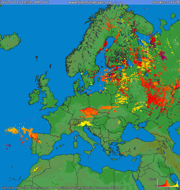 Lightning map Europe 2020-01-20 20:16:00 UTC