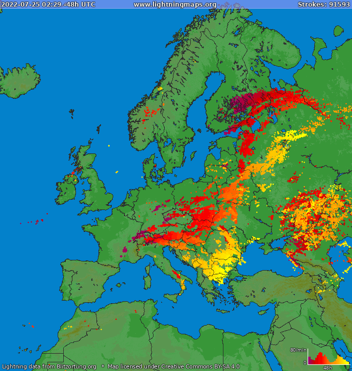 Lightning map Europe 2019.05.24 14:04:14 UTC