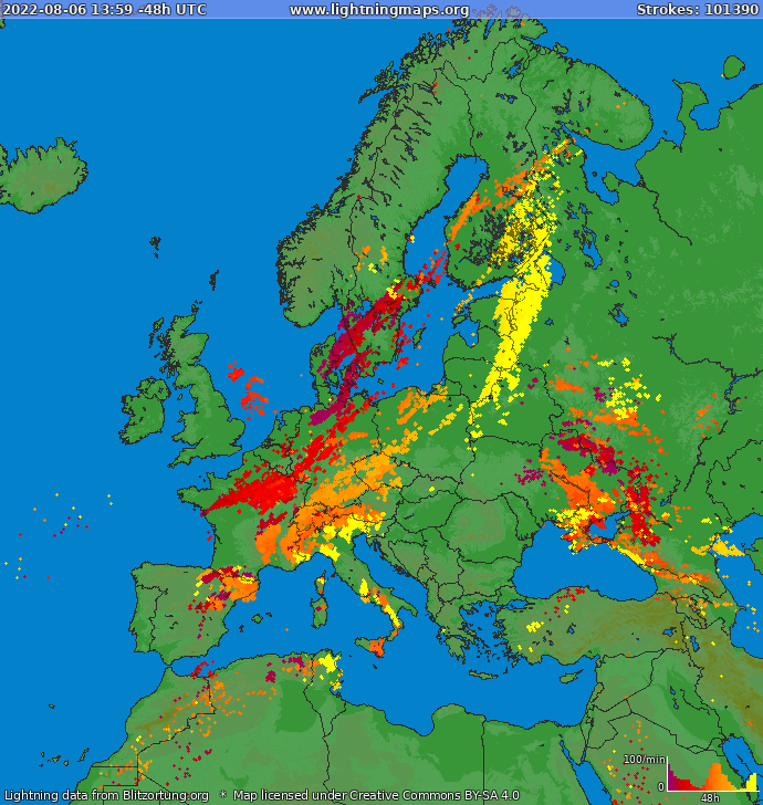 Lightning map Europe 2018-03-23 03:01:43 UTC