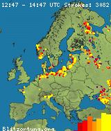 Карта гроз в Европе