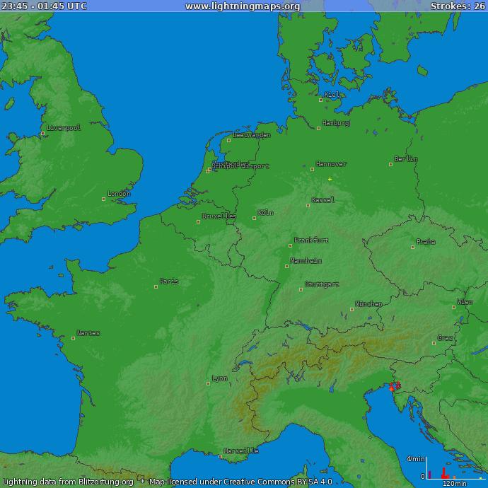 Blitze Mitteleuropa aktuell